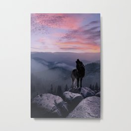 Lone Wolf at Sunset Ridge Metal Print