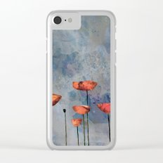 Poppyfield against the blue sky- abstract watercolor artwork Clear iPhone Case
