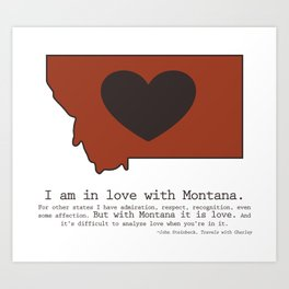 """I am in love with Montana"" - burnt orange Art Print"