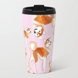 Akita Inu Pattern Travel Mug