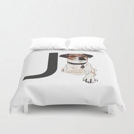 J is for Jack Russell Terrier Duvet Cover