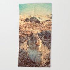 Happy Fluffy Squirrel Beach Towel