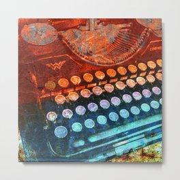 Typewriter Blue Red PopArt Metal Print