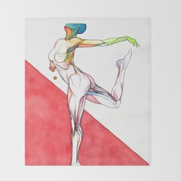 Paradigm flux, nude female dancer, NYC artist Throw Blanket