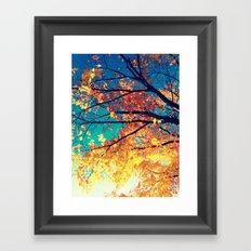 AutuMN Golden Leaves Teal Sky Framed Art Print
