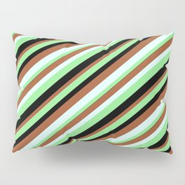 Light Green, Black, Sienna, and Light Cyan Colored Lined Pattern Pillow Sham