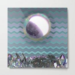 Moon Crystal Chevron Pattern Purple and Teal Metal Print