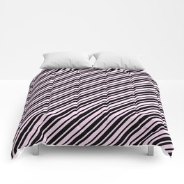 Pink Lace Pink and Black Diagonal RTL Var Size Stripes Comforters