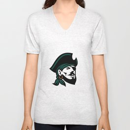 Pirate Head Eyepatch Looking Up Retro Unisex V-Neck