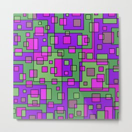 Purple Green Abstract Square Metal Print