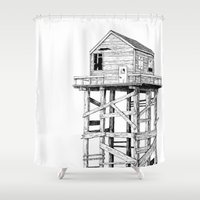 cabin Shower Curtains featuring cabin fever by PAFF