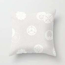 Vintage Japanese Silver Pattern Remix Throw Pillow
