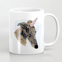 greyhound Mugs featuring greyhound unicorn by Ingrid Winkler