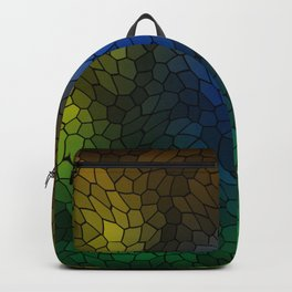 Volumetric texture of pieces of light blue glass with a dark mysterious mosaic. Backpack
