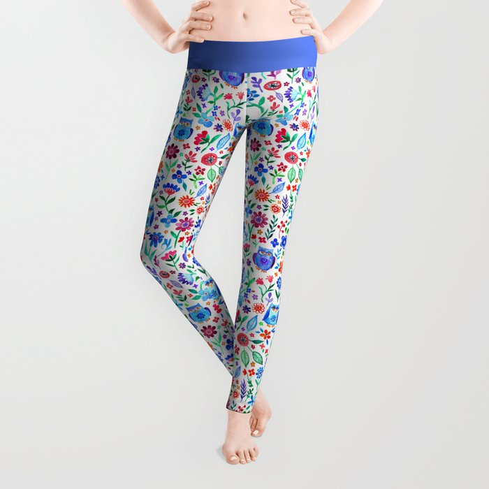 Little Owls and Flowers on White Leggings