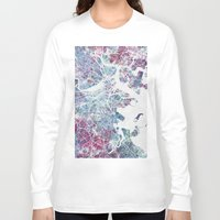 boston Long Sleeve T-shirts featuring Boston map by MapMapMaps.Watercolors