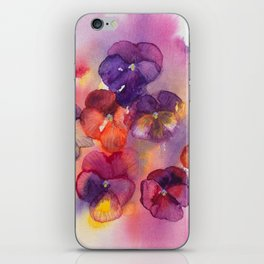 Spring watercolor flowers art colorful pansies iPhone Skin