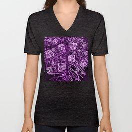 Mosaic of Owls V2 Purple Unisex V-Neck