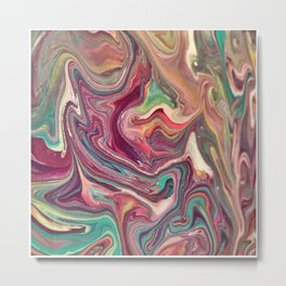 Unicorn Brains - Acrylic Abstract Pour Painting Metal Print