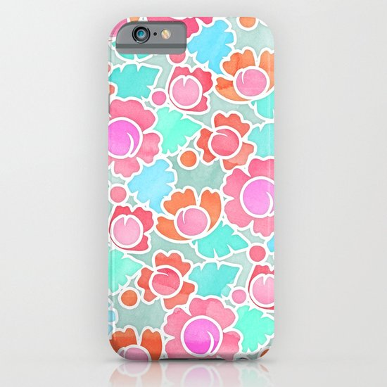 Pastel Tropical Floral Pattern Design with watercolor texture iPhone & iPod Case