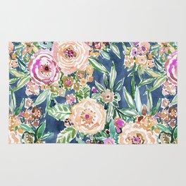Navy MAUI MINDSET Colorful Tropical Floral Rug