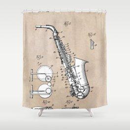 patent art Gillespie Saxophone 1945 Shower Curtain
