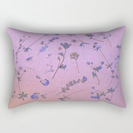 Vintage Lilac Wildflowers Rectangular Pillow