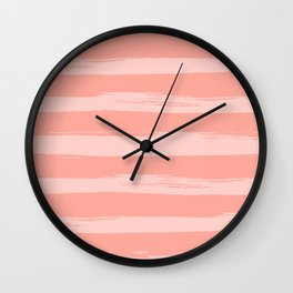 Rose Pink Stripes Design Wall Clock