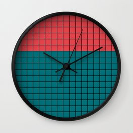 Red turquoise  plaid Wall Clock