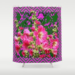 Decorative Fuchsia & Green Hollyhocks Garden Pattern Art Shower Curtain