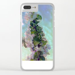 White flower on blue sky Clear iPhone Case