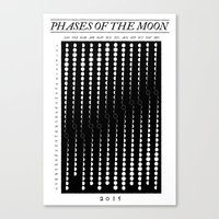 moon phase Canvas Prints featuring 2015 Moon Phase Calendar by Nick Wiinikka