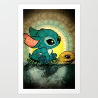 stitch Art Prints featuring Stitch by NORI
