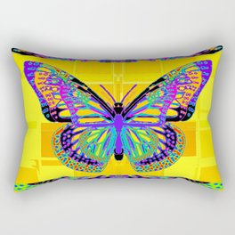 Exotic Fantasy Butterfly on Gold Panels Rectangular Pillow