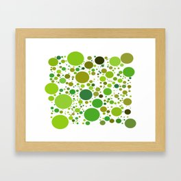 GREEN CIRCLES ON A WHITE BACKGROUND Abstract Art Framed Art Print