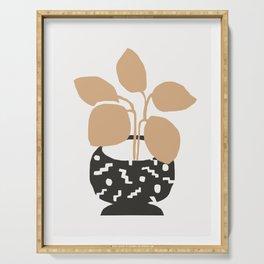 Amethea - minimalist earthtones vase with plant botanical minimal art print Serving Tray