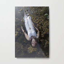 Lady in white in dirty water Metal Print