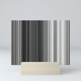 Black White Gray Thin Stripes Mini Art Print
