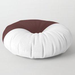 White and Dark Sienna Brown Horizontal Halves Floor Pillow