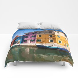 Colorful houses Comforters