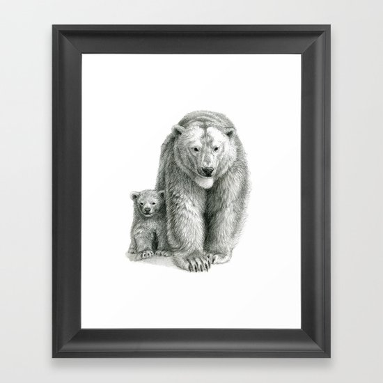 Polar bear and cub SK041 Framed Art Print