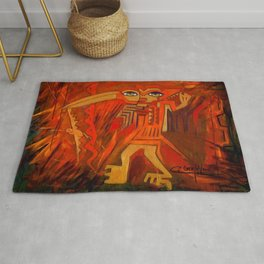 Indigenous Inca Ceremonial Shaman and Firebird portrait painting by Ortega Maila Rug