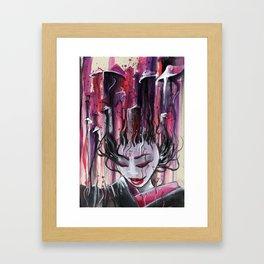 Geisha in Mushrooms: The Surrealistic Concubine Framed Art Print