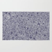 bedding Area & Throw Rugs featuring Held Together - a pattern of navy blue doodles by micklyn