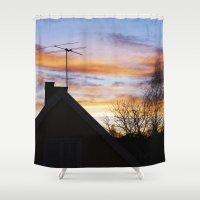 swedish Shower Curtains featuring Swedish Sunset by Matthew Phillips