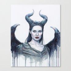 Maleficent Watercolor Portrait Canvas Print