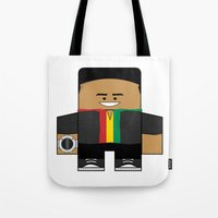 power rangers Tote Bags featuring Mighty Morphin Power Rangers - Zack (The Original Black Ranger) by Choo Koon Designs