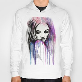 Watercolour Fashion Illustration Portrait Queen of Silence Hoody