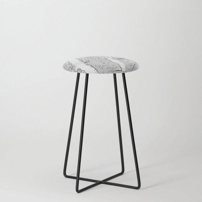 New York City White Map Counter Stool