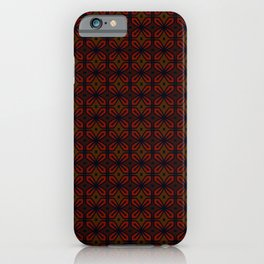 Retro Mahogany Red Wine Floral Tiles iPhone Case